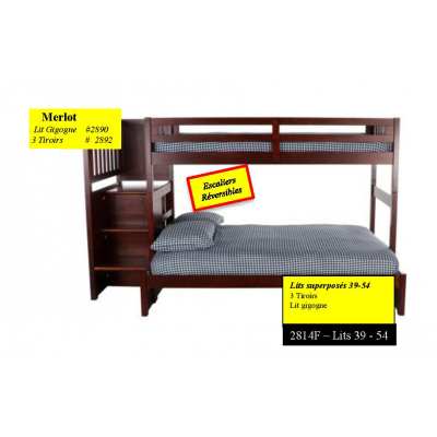 "2814 Bunkbed 39""-54"" with staircase"
