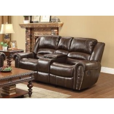Center Hill Reclining Loveseat (Dark Brown)