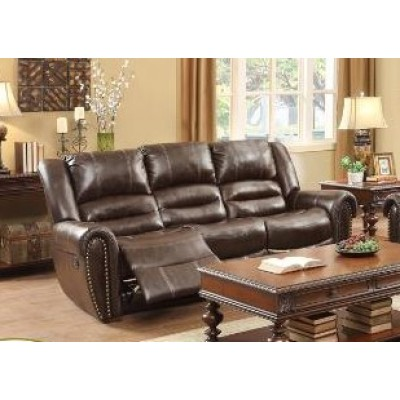 Center Hill Reclining Sofa (Dark Brown)