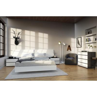 Acapella 5 Piece Queen Size Bedroom Set (White & Ebony) 400656