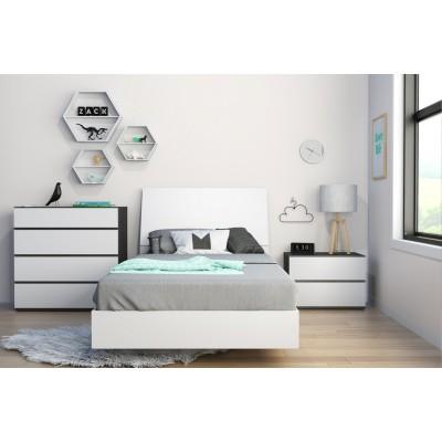 Acapella Twin Size Bedroom Set 3pcs (White/Ebony) 400748