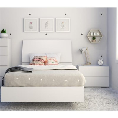 Paris Twin Size Bedroom Set 3pcs (White) 400780