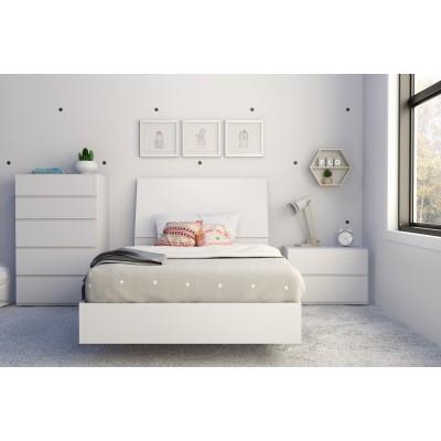 Paris Twin Size Bedroom Set 4pcs (White) 400781