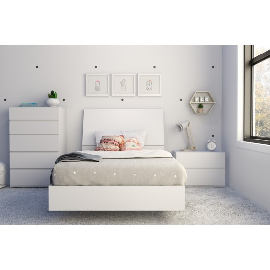 Paris Twin Size Bedroom Set 4pcs (White) 400781