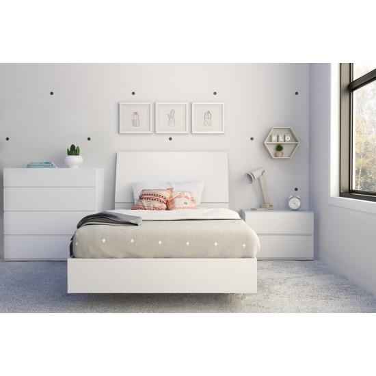 Paris Twin Size Bedroom Set 4pcs (White) 400782