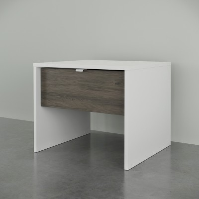 Table de chevet 212148 (Blanc/Gris Écorce)