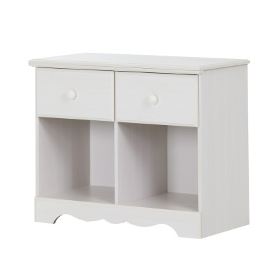 Table de chevet double 2 tiroirs Summer Breeze (Blanc antique)