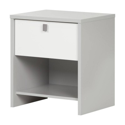 Cookie 1-Drawer Nightstand (Soft Gray and Pure White)